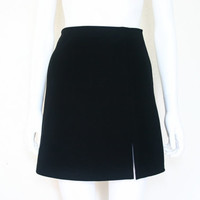 90's BLACK Slit Skirt / Mini Skirt / small women's clothing