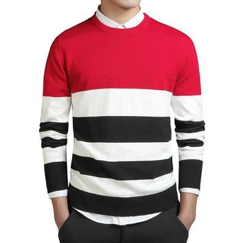 3 Colors Patchwork Varsity Sweaters Men Classic Sweater College Striped Knitted Pullovers Men Clothes Warm Cashmere