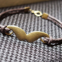 Beard Bracelet Single Vintage Beard Bracelet Bronze-Brown Leather Bracelet-Men Gift-Boy Bracelet-Best Friendship Jewelry Gift