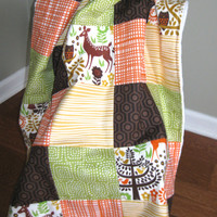 Woodland Baby Blanket, Patchwork, Minky, Gender Neutral