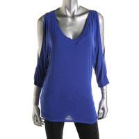 Michael Stars Womens   Matte Jersey Cold Shoulder Pullover Top
