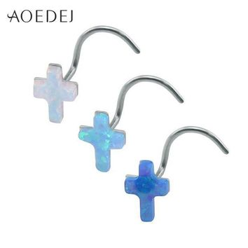 ac ICIKO2Q AOEDEJ 3 Colors Cross Nose Rings For Women Stainless Steel White Fire Opal Stone Nose Stud 20g Nose Piercing Ring L Shape