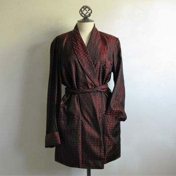Vtg 1950's BONNINGTON Robe Mens Lined Satin Jacquard Smoking Jacket Lounge Man Cave Attire Small