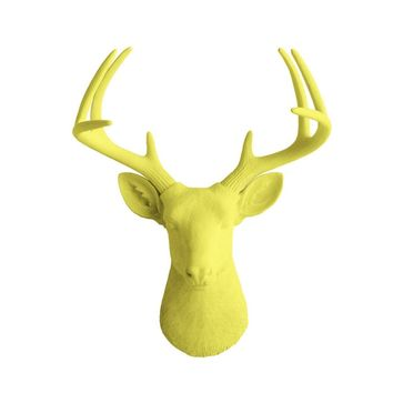 The Virginia | Large Deer Head | Faux Taxidermy | Yellow Resin