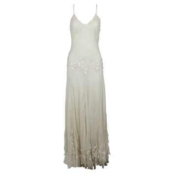 Alexander McQueen (unlabelled) Cream Chiffon Gown with Embroidery