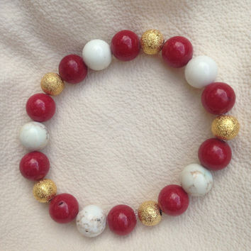 Red white and gold gameday bracelet, red gameday bracelet, beaded gameday bracelet, fsu bracelet, maroon bracelet, beaded beacelet, football