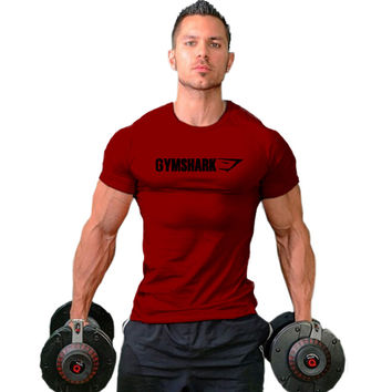 2016 Gymshark cotton camisetas  camisa masculina hombre t shirt Bodybuilding and fitness shirt men Muscle men's sportswear
