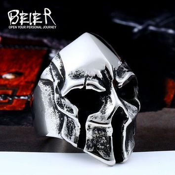 Beier 316L Stainless steel Men's Gothic Biker Punk Vintage Ring Spartan Mask Helmet Nordic Pagan  Viking Rings LR414