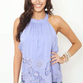 Lavender Embroidered Sleeveless Top
