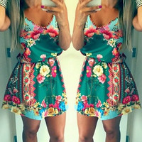 Green Floral Print Sleeveless Mini Dress