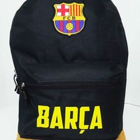 Barcelona backpack Black Brown school mochila bookbag cinch bag Fc Barcelona