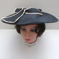 Vintage Picture Hat Black Woven Semi Sheer With Bow Accent Wide Brim Bandeau