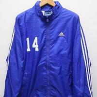 15% SALES Vintage ADIDAS Jacket Windbreaker Blue XL
