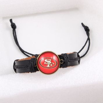 USA Football Team San Francisco 49ers Charms Bracelet Black Leather Bracelets For Sports Fan Time Gem Charm Bracelet 6pcs/lot