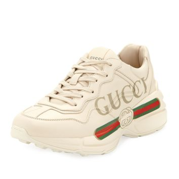 Men's Gucci Rhyton Print Leather Trainer