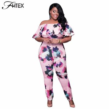 Sexy Off the Shoulder Slash Neck Plus Size Jumpsuit Rompers Women Floral Print Ruffles Catsuit Casual Slim Overalls
