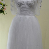 A-line V-neck Short sleeve Short/Mini Tulle Fashion Prom Dresses/Wedding Dress/Cocktail Dress With Applique Free Shipping