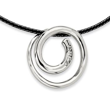 Synthetic Cz Swirl Pendant Necklace in Stainless Steel - Lobster Claw Cord