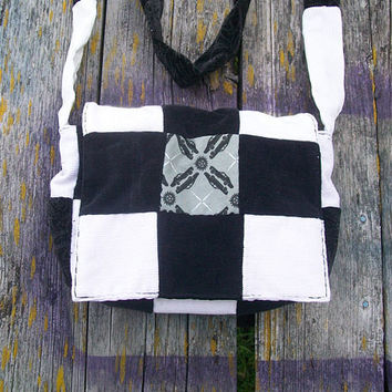 Black White Supernatural Impala Patchwork Recycled Corduroy Purse Ready to Ship