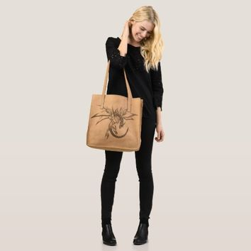 dragon skeleton geometric illustration leather bag