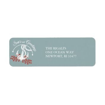 Sea's and Greetings Return Address Label - Anchor