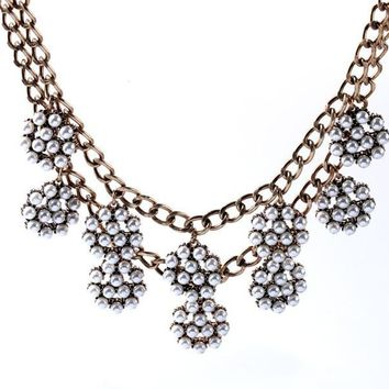SKI - Double Tiered Pearl Flower Necklace