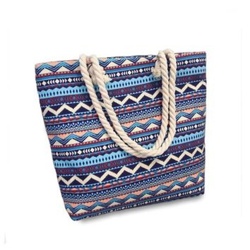Bohemian  New Summer Women Canvas bohemian style striped Shoulder Beach Bag Female Casual Tote Shopping Big Bag floral Messenger Bags