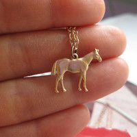 Tiny Gold Horse Charm Necklace  Animal Charm Necklace  Equestrian Charm Necklace