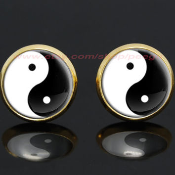 yin yang gold plated stud post earrings,girlfriend gift Bridesmaid Gift