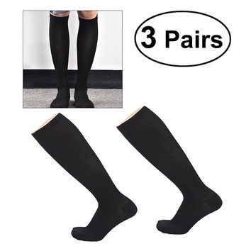 3 Pairs Women Men Compression Socks Knee High Stocking Nylon Sports Socks Athletic Running Socks for Exercise