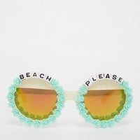 Rad + Refined Beach Please Round Sunglasses with Mirror Lense