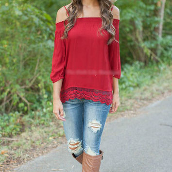 Red Strap Lace Half-Sleeve Shirt