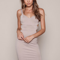 TAUPE SIDE CUT OUT BODYCON DRESS