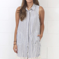 Stripe Out Lace Trimmed Pocket Shirt Dress {Blue} EXTENDED SIZES