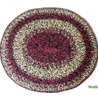 crochet handmade mat rugs woven rug oval pet bed carpet floor mat woven carpet wool OOAK egst Niatta