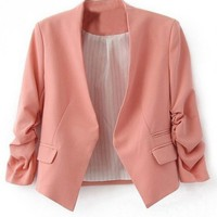 LUCLUC Pink Candy Color Long Sleeve Blazer With Pockets - LUCLUC