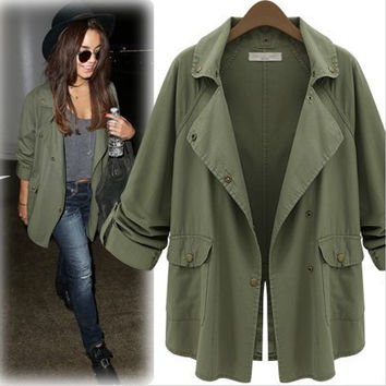 Army Green Roll Up Sleeve Trench Coat