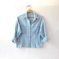 vintage jean shirt. button down shirt. cropped denim shirt. faded jean shirt.