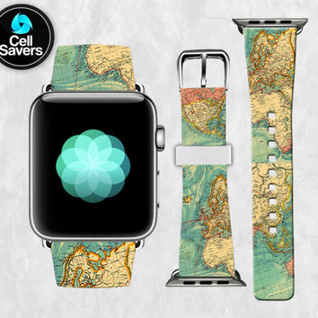 Vintage World Map Retro Travel Inspired Tumblr Cute New Apple Watch Band Leather Strap iWatch for 42mm and 38mm Size Metal Clasp Watch Print