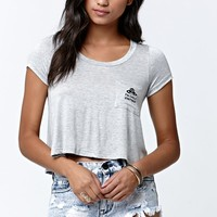 LA Hearts Only Visiting Pocket Short Sleeve Cropped T-Shirt - Womens Tee - E. Heather Grey