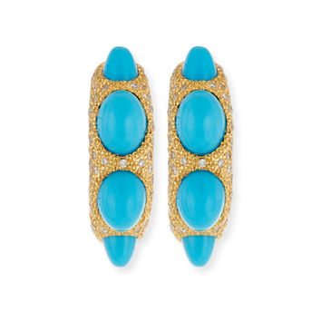 Chantecler Jackie Turquoise Cabochon & Diamond Hoop Earrings