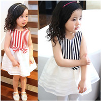 Stripe Bow Sleeveless Dress