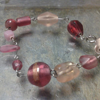 Rose Glass Bead Bracelet