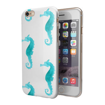 Blue Watercolor Seahorses 2-Piece Hybrid INK-Fuzed Case for the iPhone 6/6s or 6/6s Plus