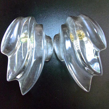 Clear Lucite Couture Sterling Silver Clip Earrings, Deeply Carved Curves, Modernist, Chunky, Vintage