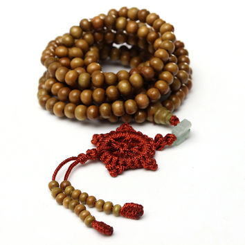 Buddhist Prayer 216 Sandalwood Bead Mala Bracelet