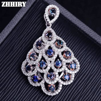 ZHHIRY Women Real Natural Sapphire Necklace Pendant Genuine Solid 925 Sterling Silver Fine Gemstone Jewelry