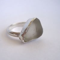 "Beach Glass Ring, Sea Glass Ring, Sterling Silver Ring  Sz. 7 ""Earth Links Collection"""