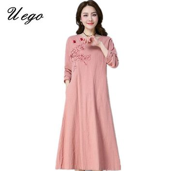 Uego 2018 New Fashion Embroidery Floral Autumn Dress Cotton Linen Chinese Style Vintage Long Dress Loose Women Casual Midi Dress