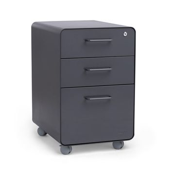 Charcoal Stow 3-Drawer File Cabinet, Rolling | Poppin